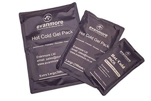 Lot de 3 paquets de gel chaud froid réutilisables – Therapie par glace, Physio Wrap Compresse premiers secours