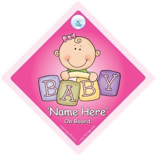 Personnalisé Signe Bébéà Bord,Rose Briques,àà We'Ll Ajouter N'Importe Quel Nom à Créer Votre Propre ààà Bord Panneaux,Enseignes de Voiture,à Panneau Autocollant Sticker,à Automobile Signe,Moyens