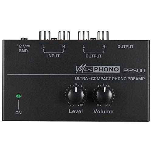 Mogzank Preamplificador Phono Preamplificador PP500 con Controles de Nivel de Volumen Entrada RCA Salida Interfaces TRS de 1/4 Pulgadas para LP Vinyl Enchufe de la UE