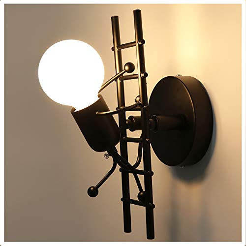 KAWELL Humanoid Kreative Wandleuchte Innen Wandlampe Modern Kerze Wandleuchte Art Deco Max 60W E27 Basis Eisen Halter für Kinderzimmer, Schlafzimmer, Wohnzimmer, Treppe, Flur, Restaurant