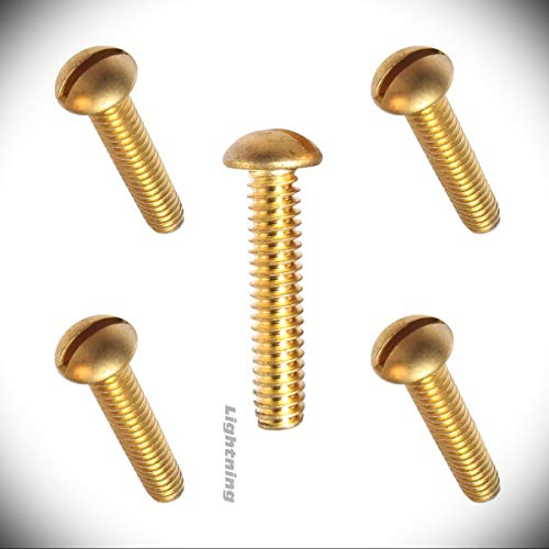 """Slotted Round Head Machine Screws Metric Hardware Fastener Kit Solid Brass #10-24 X 1"""" Size Set of 25 -  Bolts & Screws by S.S., Ligh_6150"""