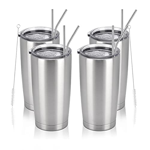 4 Pack Travel Tumblers, 20 Oz Stainless Steel Tumblers with Lids Straws, Double Wall Travel...