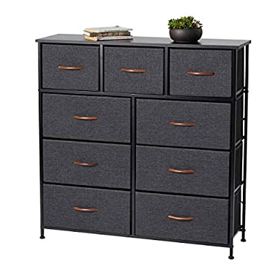 Dresser with 9 Drawers, Dresser for Bedroom with Drawers, Vertical Storage Tower, Fabric Dresser Tower for Closets,Bedroom, Hallway- Sturdy Steel Frame, Wooden Top(Grey with Brown Wooden Handle)