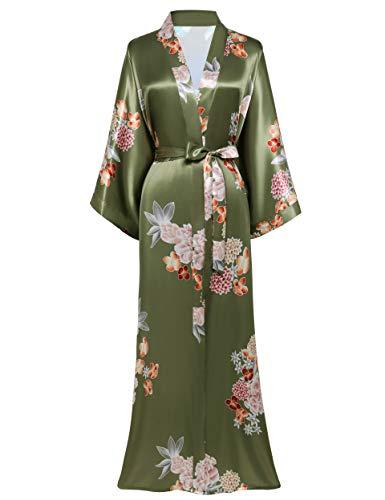 BABEYOND Damen Morgenmantel Maxi Lang Satin Sommer Kimono Kleid Blumen Muster Kimono Bademantel Damen Lange Robe Blumen Schlafmantel Girl Pajama Party (2-Erbse Grün)
