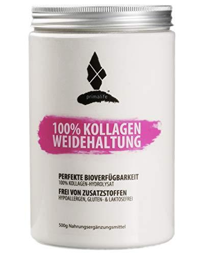 PRIMALIFE® Protein-Pulver - 100{3cafa4f2801457edca858b4f89dc5967af926519570892d8f50fa9fe28f3461c} Kollagen Aus Weidehaltung - Empfohlene Tagesdosis 1 EL - Reines Kollagen Hydrolysat - Ohne Zusätze & In Deutschland hergestellt (500g)