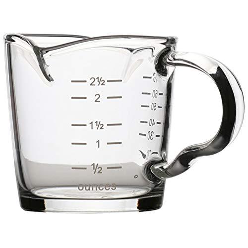Cabilock Taza medidora de cristal con asa, con báscula hecha a mano, resistente al calor, apta para lavavajillas, 100 ml