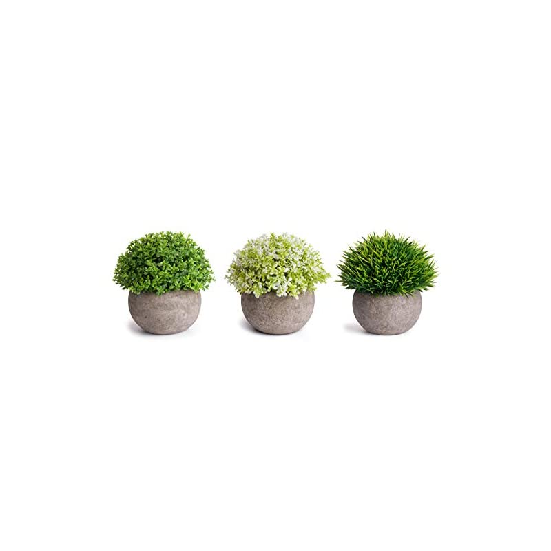 silk flower arrangements moonla artificial plants potted faux fake mini plant greenery green grass flower topiary shrubs in gray pot for bathroom home house decor (set of 3)