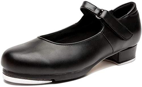NLeahershoe Slide Buckle Leather Tap Shoes Dancing Shoes for Girls, Black, 3.5 Big Kid