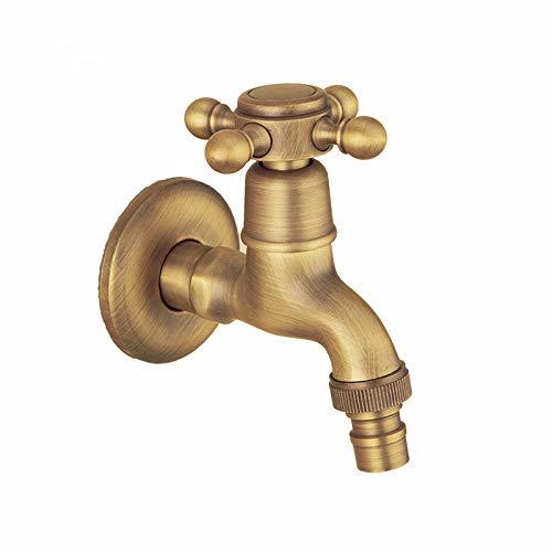 Grifo de pared vintage para baño de agua fría con lavabo de latón para lavadora, jardín y patio