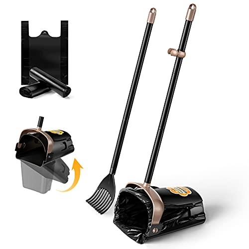 PETNOZ Large Swivel Bin & Rake Pooper Scooper with 20 Waste Bags, 4 Bag Hooks & 36' Long Handle Adjustable Portable Non-Breakable Dog Pooper Scooper...