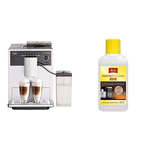 Melitta Caffeo CI E970-101 Kaffeevollautomat | mit Milchbehälter | Zweikammern-Bohnenbehälter | One Touch Funktion | 15 Bar | Silber & 202034 Perfect Clean Milchsystem Reiniger | 250 ml