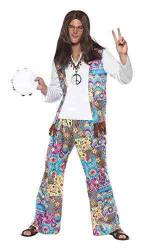 Chique hippie kostuum bovendeel met aangezette vest broek en haarband, Large