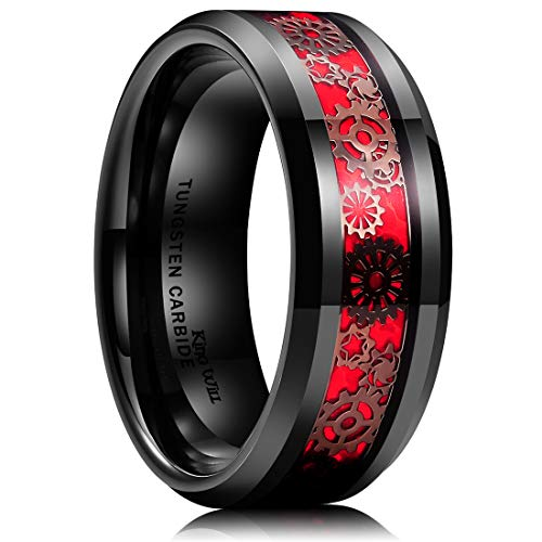 King Will Gentleman Mens 8mm Black Tungsten Carbide Ring Gearwheel Red Opal Background Inlay Wedding Band 6