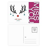 クリスマスの枝角の休日のパターン ポストカードセットサンクスカード郵送側20個ミス