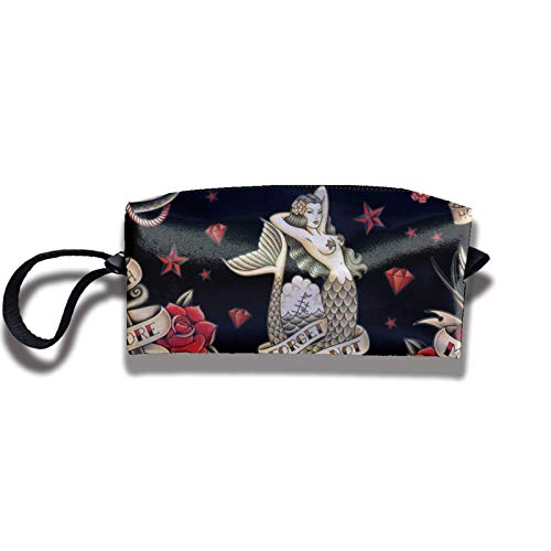 Travel Makeup Bag 2.5x3.5x9 in Old School Tattoo Black Portable Make up Receive Bag Hand Cosmetic Bag Makeup Bag Pencil Case with Zipper
