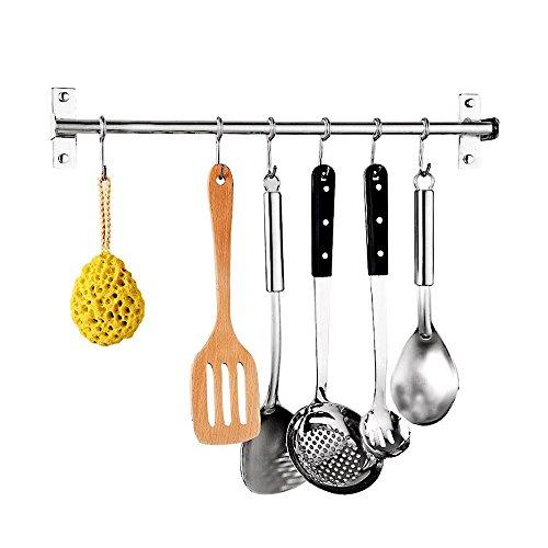 Edelstahl Küchen Hängeleiste Bad Hakenleiste mit 6 Beweglichen Haken (40cm)