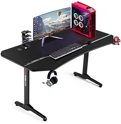 EROMMY 63inch Gaming Desk, T Shaped Computer Desk, Office Desk with Cup Holder & Headphone Hook,Professional Home Office Writing Desk with USB Gaming Handle Rack & Full Desk Mouse Pad