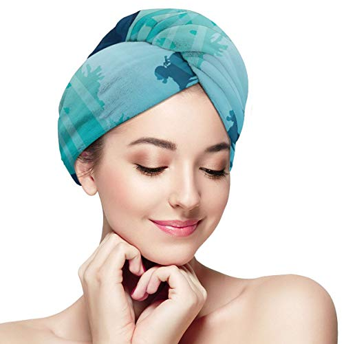 Silhouette Divers Stone Coral Cave Dry Hair Cap Microfibre Hair Towel Wraps Ultra Absorbent Quick Dry Twist Turban with Button for Drying Curly Long Thick Hair 11¡± X 28¡±