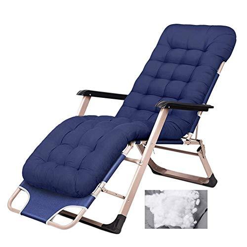 WJXBoos Sillones Plegables para sillones de Patio de Gravedad Cero en jardín al Aire Libre La Silla de Playa reclinable soporta 200 kg con Cojines (Color: Azul)