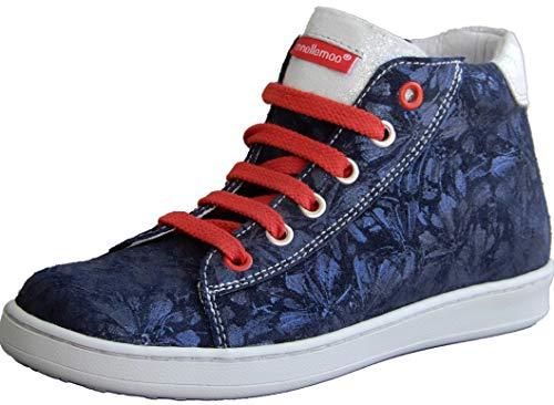 ennellemoo® Mädchen-Kinder-Boots-Halbschuhe-Sneaker. Echt Leder-Schuhe-Reißverschluss-Schnürsenkel. Premiumschuhe - Vollleder. (32 EU, Blau/Silber)