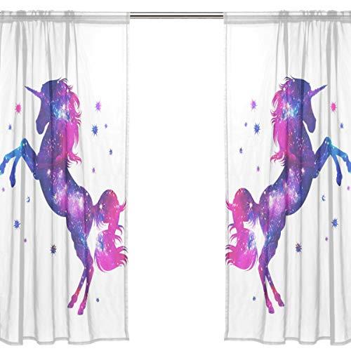 Orediy Vorhang aus Voile, durchscheinend, 2 Paneele, magisches Einhorn, 40 % Verdunkelungsstange, lange Gardine, Fensterbehandlung, Schlafzimmer, Wohnzimmer, 2* 140W x 200 H