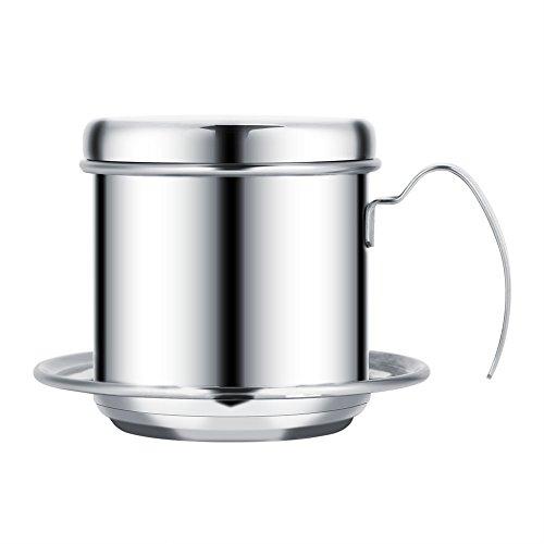 Cafetera vietnamita con filtro, pequeña cafetera de prensa francesa de acero inoxidable, cafetera de goteo para café de oficina(Silver)