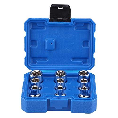 Juego de llaves de vaso E-Torx Star de 9 piezas, llave de vaso de acero al cromo vanadio E10-E24, juego de herramientas de reparación, broca de estrella Torx tipo E de 1/2 'con caja de almacenamiento