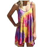BPQ_W Summer Petite Dresses for Women Plus Size Kink Sling Tank Dress Tie-Dye Print Irregular Hem Casual Swing Mini Dress Purple