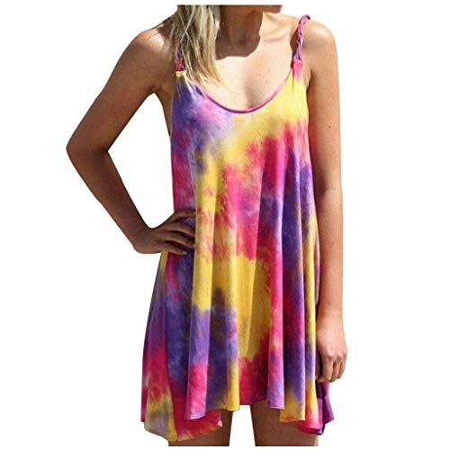 VIVIYY Casual Swing Mini Dress Tank Tops for Women Plus Size Summer Tie-Dye Irregular Hem Tee Purple