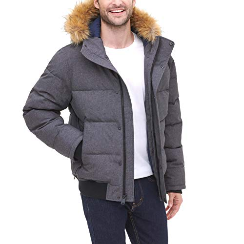 Tommy Hilfiger Men's Quilted Arctic Cloth Snorkel Bomber Jacket with Removable Hood (Standard and Big & Tall), Heather Charcoal, Large