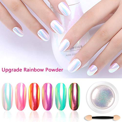 Chrom Perlmutt Pulver Nagel Glitzer Pigment Regenbogen Neon Farbe Langlebig Maniküre Nail Art Tipps...