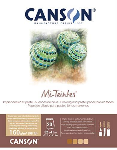 Canson Bloc Encolado 32x41 20H Teintes 60% Abeja 160g Tonos Tierra, 20 Hojas