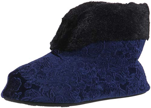 Dearfoams Women's Embossed Velour Bootie Slipper, Peacoat, L Regular US