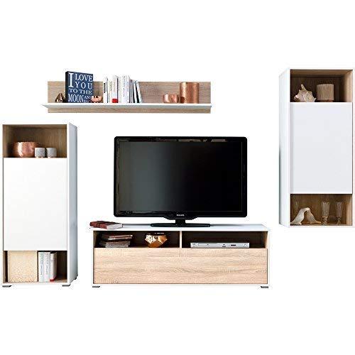 CS Schmal Wohnwand mit Standschrank, Wandboard, Hängeschrank und TV-Lowboard Eiche/Weiß