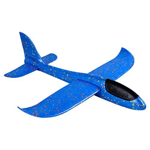 Houkiper 48cm Jumbo Lanzamiento de Mano Lanzamiento de avión Planeador Avión Espuma EPP Avión de Juguete para niños Deportes al Aire Libre (Azul)