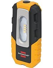 Brennenstuhl LED batterij handlamp HL DA 40 MH/robuuste batterij werklamp met schakelaar en geïntegreerde magneet (werkplaatslamp met 200lm en tot 3 uur lichtduur, knikbare houder)
