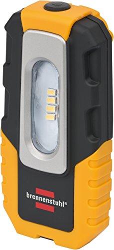 Brennenstuhl LED Akku-Handleuchte HL DA 40 MH / Robuste Akku Arbeitsleuchte mit Schalter und integriertem Magnet (Werkstattlampe mit 200lm und bis zu 3h Leuchtdauer, knickbarer Haltefuß)
