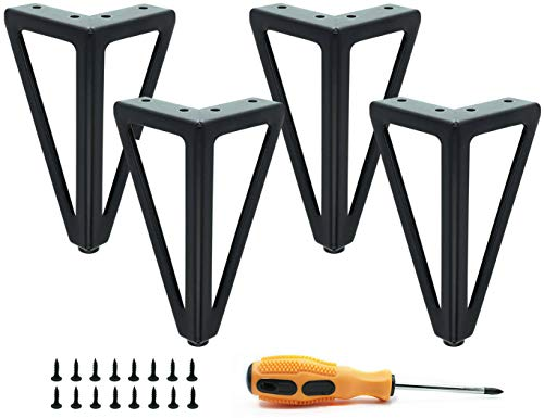 4 patas de mesa de metal negras, patas de muebles intercambiables, patas de muebles, adecuado para mesa de centro, armario de TV, sofá, cama y otros pies de muebles, con tornillos. (15,5 cm).