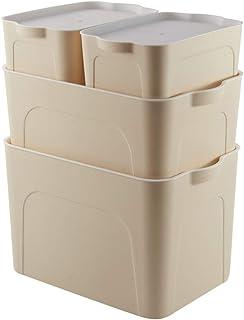 WOHCO Bacs de Rangement en Plastique empilables avec couvercles, Paquet de 4 bacs de Rangement en Tricot à Couvercle empil...