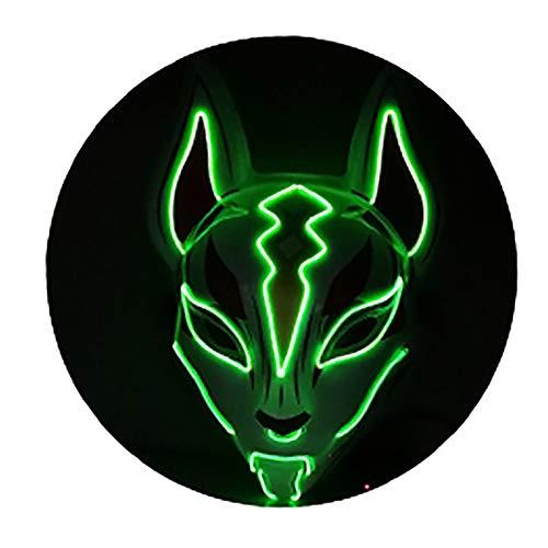 HEWXWX Máscara LED Máscara de Zorro de Halloween, Máscaras de Purga Disfraz de máscara de elección, Fiesta de DJ Iluminado Navidad Cosplay Resplandor en la Oscuridad 10 Colores,D
