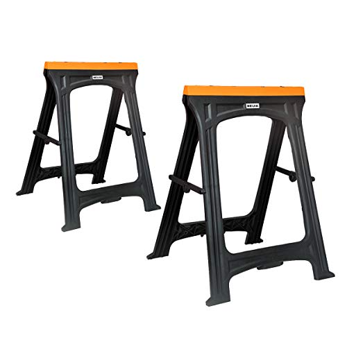 MEIJIA 2-Pack Portable Folding Sawhorses With Folding Legs Lightweight Trestle Work Bench,Support Large Weight Capacity