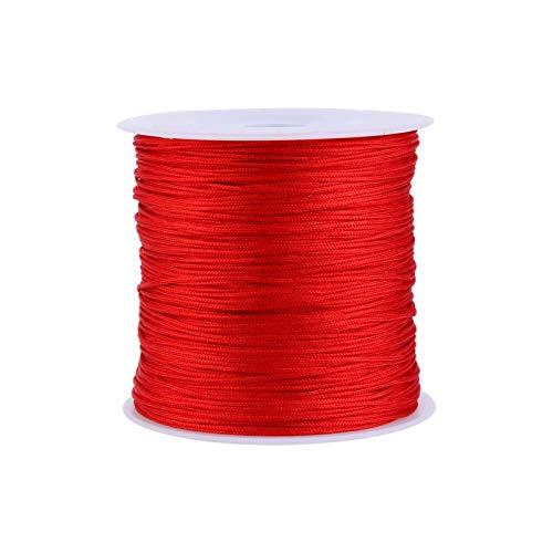 Cordón de satén de nailon, 100 m x 0,8 mm, cordón de nudo chino de nailon con cola de rata, macramé, hilo de Shamballa, rojo para pulsera, fabricación de joyas, collar con adornos encerados