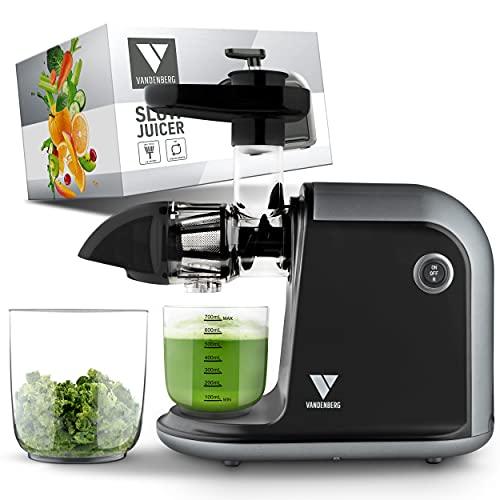 Slow Juicer de Vandenberg: exprimidor silencioso para verduras y frutas [150 W]...