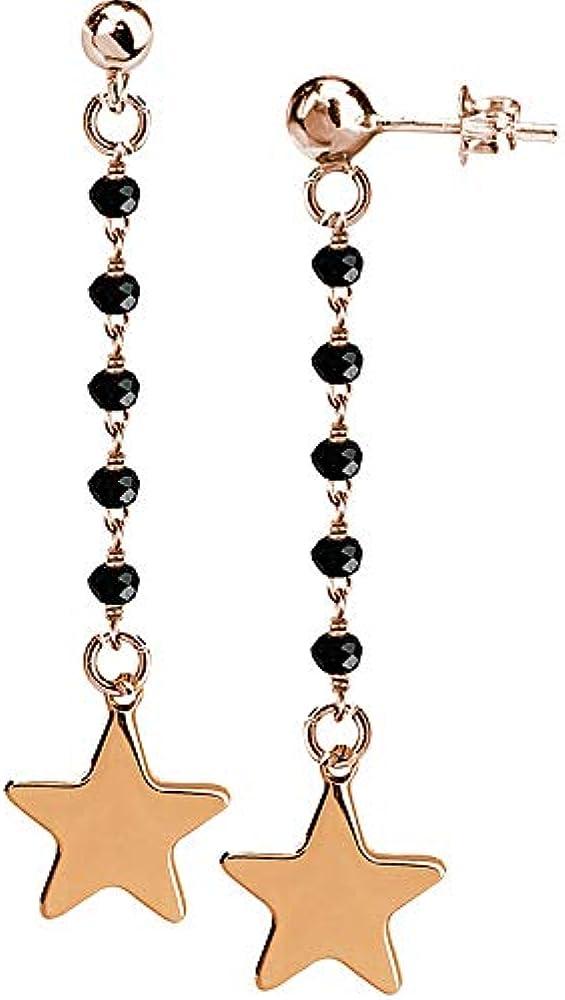 Boccadamo, orecchini per donna,in bronzo placcato oro rosa con cristalli Ik/Or06