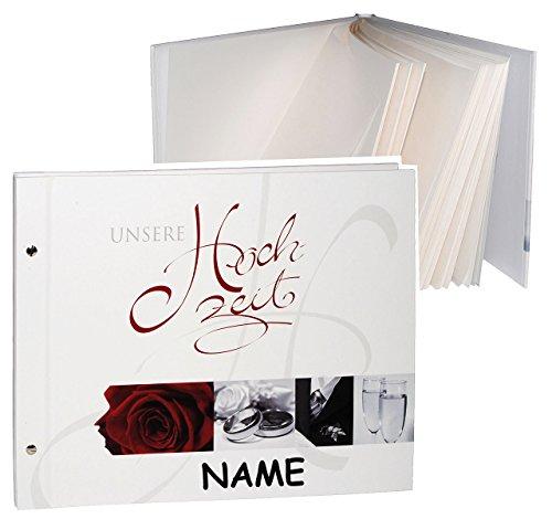 alles-meine.de GmbH XL Fotoalbum / Gästebuch - erweiterbar - Schraubalbum -  unsere Hochzeit  - incl. Namen - Gebunden zum Einkleben - blanko - groß für bis zu 240 Bilder - Fot..