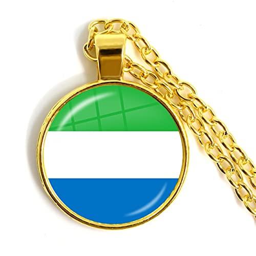 Minyose Trinidad, Sierra Leona, Jamaica, Guyana, Ghana, Reino Unido, Libia, Estonia, India Bandera Nacional Collar con Colgante de cabujón de Cristal de 25 mm para Mujer