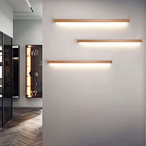 HIGHKAS Luz de Pared de Tira Larga de Madera LED Lámpara de Pared Interior Regulable 3 variaciones de Color Espejo de baño Luz Frontal Simplicidad Luces de decoración de Fondo para el hogar