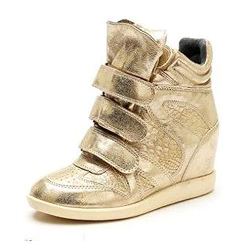 Herfst Dames Sleehakken Plateau Toenemende Casual Sneakers Mode Glitter Goud Ademend Wandelen Hoge Sneakers Met Dikke Zool