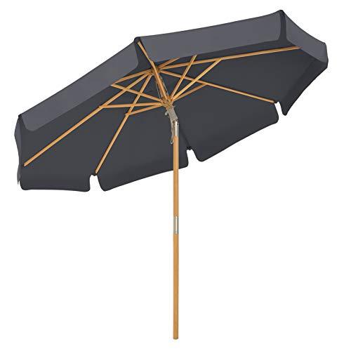 SONGMICS Sonnenschirm 300 cm, achteckiger Gartenschirm, Sonnenschutz bis UPF 50+, Schirmmast und Schirmrippen aus Holz, knickbar, ohne Ständer, Outdoor, Balkon, Terrasse, grau GPU32GY