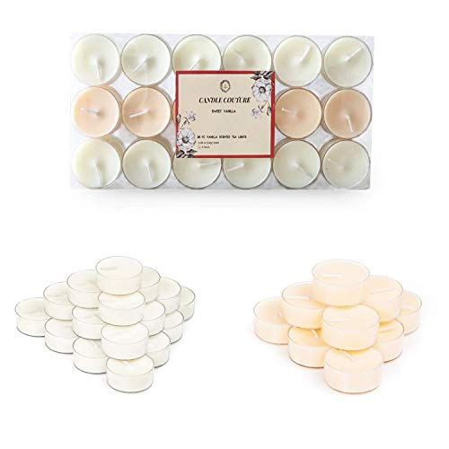 Candle Couture 36 Pack Vanilla Scented Tea Light Candles with Clear Cup, Highly Scented 95% Vegetable Wax, Natural Essential Oils, Tealights Long Burning Time, Candle Gift Set for Women